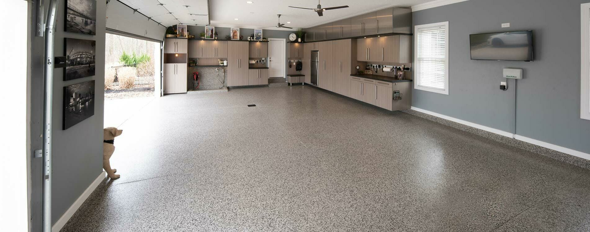 Professional Garage Flooring Installation. Party ready space!